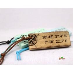 Vintage Schlüsselanhänger personalisiert mit GPS-Koordinaten