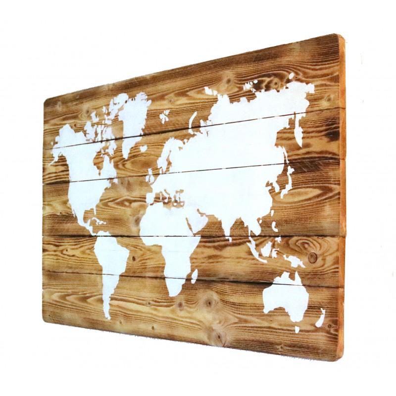 Weltkarte auf holz wandbild deko rustikal geschenk timbert for Weltkarte deko