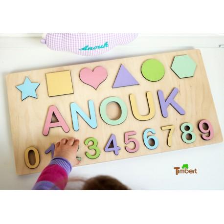 HOLZ PUZZLE personalisiert mit Namen, Zahlen und Formen in Pastell oder Regenbogen Farben