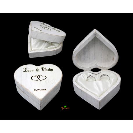Vintage RINGBOX aus HOLZ Herz Ringkissen in Shabby Weiß + GRAVUR Rustikale BoHo Hochzeit Ringschatulle Personalisiert