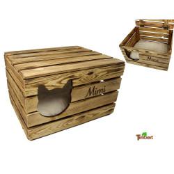RUSTIKALE KATZENHÖHLE PERSONALISIERT mit Namen Vintage Truhe aus Holz Obstkiste Katzenkorb mit Deckel Katze Hund Tierbett