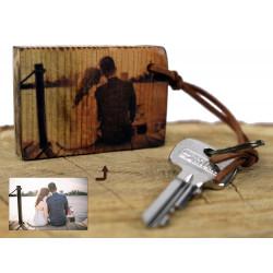 Vintage Foto Schlüsselanhänger auf Altholz Valentinstag Hochzeitsfoto Holz Geschenk Familie Personalisiertes Holzbild Valentin